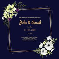 Mörkblå bröllopsinbjudan