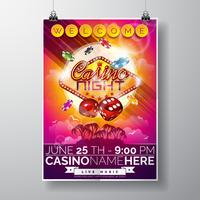Vector Party Flyer design on a Casino theme with chips and dices