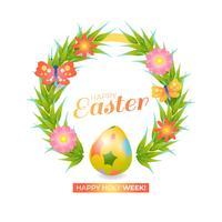 Fondo de Pascua con objetos tradicionales.