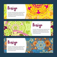 Templates banners set. Floral mandala pattern and ornaments.