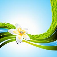 Vector background on a spring theme with flower.