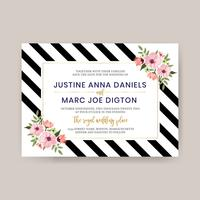 Black Line With Wedding Flower Template