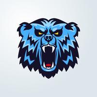 logotipo de la cabeza del oso emblema de la mascota