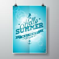 Hello Summer, i've been waiting for you inspiration quote on blue sky background.