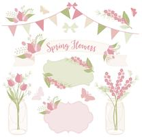 Flowers in mason jars vector
