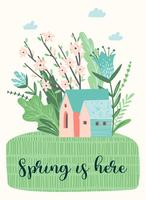 Cute illustration with spring landckape. Vector design
