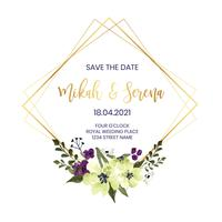 Lozenge Floral Wedding Frame vector