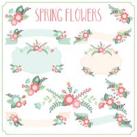 Cadres de fleurs de printemps