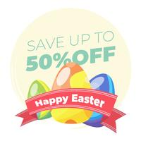 Easter sale banner with ornamental easter eggs