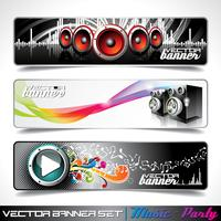 Vector banner set on a Music and Party theme.