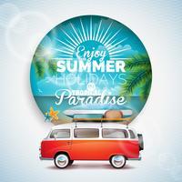 Vector Geniet van de zomervakantie in tropische paradijs typografische illustratie