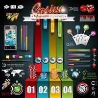 Vector Casino infographique sertie de carte du monde et d'éléments de jeu.