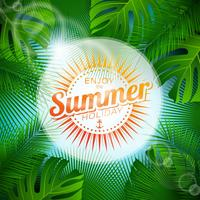 Vector Enjoy the Summer Holiday typographic illustration with tropical plants and sunlight