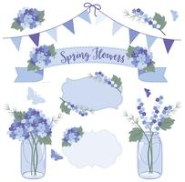 Spring flowers blue vector