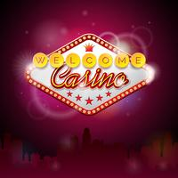 Vector illustration on a casino theme with lighting display and welcome text
