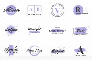Logo de vecteur rétro vintage féminin pour bannière