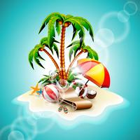 Vector illustration on a summer holiday theme with paradise island