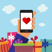 Smart-phone mobile, heart and gifts
