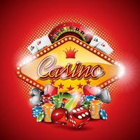 Vector a ilustração em um tema do casino com elementos de jogo no fundo vermelho.