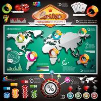 Infographic Satz des Vektor-Kasinos mit Weltkarte und spielenden Elementen.