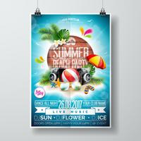 Vector Summer Beach Party Flyer Design med typografiska element på trästruktur bakgrund.