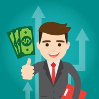 Hombre de negocios gana dinero