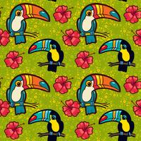 Toucan and Hibiscus. Tropical Green seamless pattern.