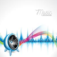 Vector illustration on a musical theme with speaker on abstract wave background.