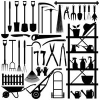 Gardening Tools Silhouette.