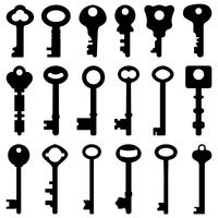 Key Black Silhouette Retro Old Antique Vector.