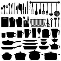 Kitchen Utensils Silhouette Vector.