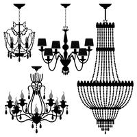 Chandelier Black Silhouette.