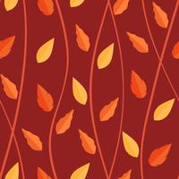 Orange leaves pattern on seamless background