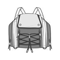 Flache technische Zeichnungsvektorschablone der Rucksack-Mode