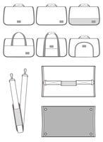 Pet Carrier flat technical drawing template