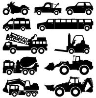 Vehicle silhouette set  vector