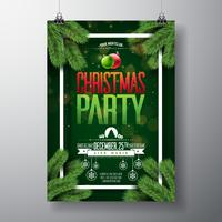 Vector Christmas Party Flyer Design met vakantie typografie elementen