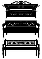 Antique Bench Furniture in Silhouette.