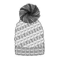 Beanie set Fashion Flat Sketche vector template