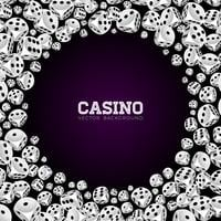 Casino illustration with floating dices on white background vector