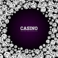 Casino illustration with floating dices on white background