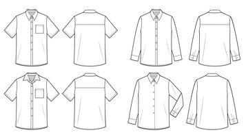Camisas modelo de desenho técnico plano de moda