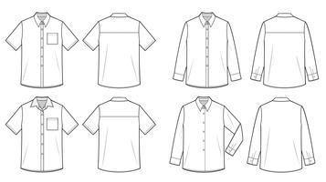 SHIRTS fashion flat technical drawing template