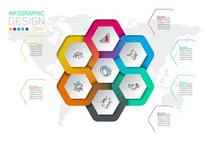 Business hexagon labels shape infographic on circle. vector