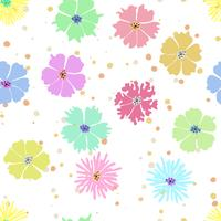 Colorful flower seamless background with hand drawing.