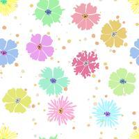 Färgrik blomma sömlös bakgrund med handritning.