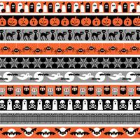 orange grey black halloween border patterns