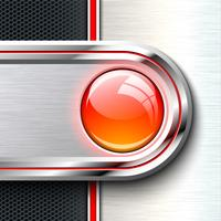 Red glass button on monochrome solid material sheet. vector