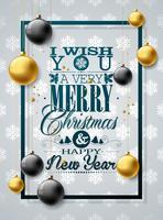 Ilustración navideña con tipografía y adornos dorados.