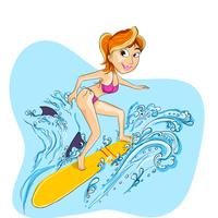 Illustration of a lady playing surfboard.